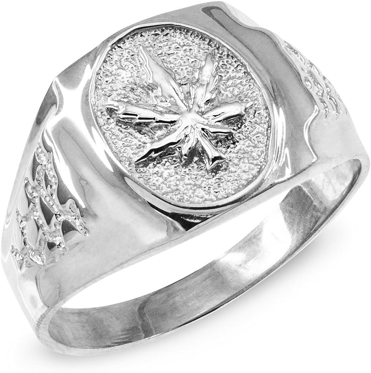 Mens Sterling Silver Marijuana Leaf Cannabis Ring Little Treasures