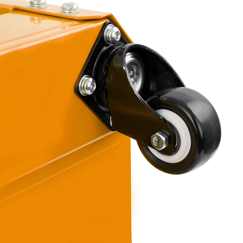 Renewed OEMTOOL 24997 Orange Rolling Workshop Creeper Seat with 2 Tool Storage Drawers Under Seat Parts Storage Can Holders
