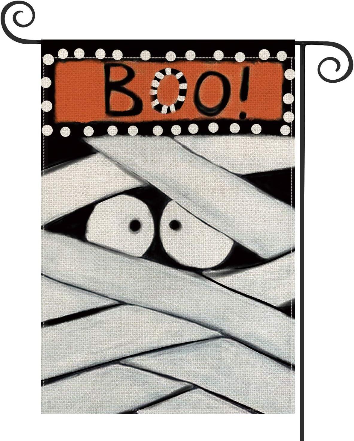 AVOIN Halloween Boo Garden Flag Vertical Double Sized, Cartoon Mummy Day of The Dead Yard Outdoor Decoration 12.5 x 18 Inch
