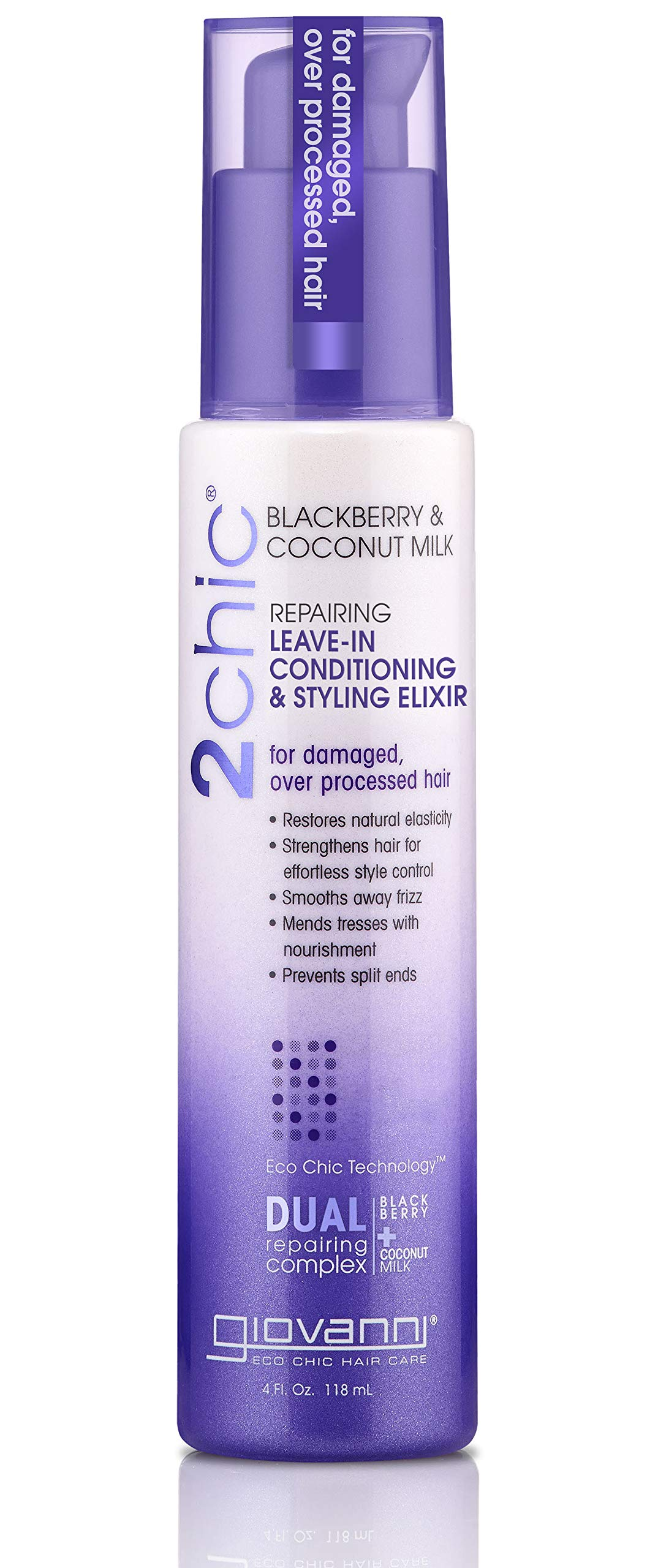 GIOVANNI 2Chic Blackberry & Coconut Repairing Leave-In Conditioner and Styling Elixir - Nourishing and