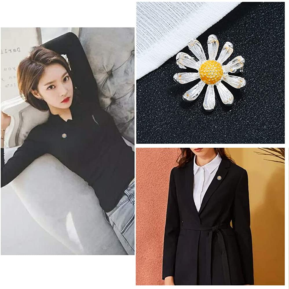Vintage Daisy Flower Brooch Pin for Women Girls Men Fashion Alloy Two Tone Small Sunflower Boutonniere Corsage Stick for Hat Bag Suit Scarf Tie Dress Asscessories Jewelry Birthday Party Day Gifts
