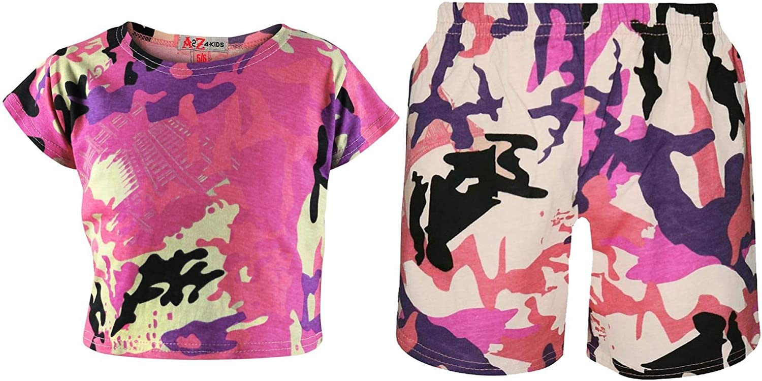 A2Z 4 Kids Kids Girls Crop Top /& Cycling Shorts Baby Pink Camouflage Print Trendy Fashion Summer Outfit Short Sets New Age 5 6 7 8 9 10 11 12 13 Years