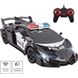 """Vokodo Police RC Car Super Exotic 12"""" 1:16 Scale Size Kids Remote Control Easy to Operate Toy Sports Cars with Functional LED"""