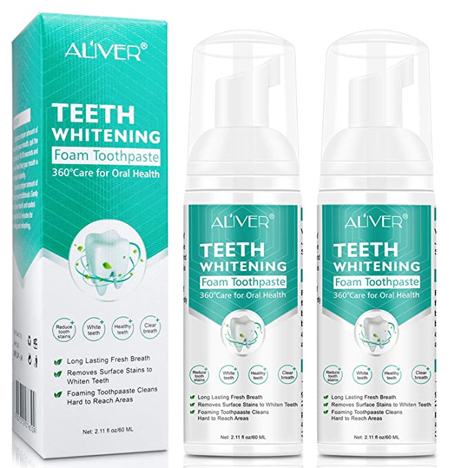 Teeth Whitening Toothpaste 2 Pack Citrus Baking Soda Toothpaste Foam Whitening Toothpaste Ultra Fine Mousse Foam Deeply Cleaning Gums Stain Removal Natural Mouth Wash Water 2 X 60ml Health Personal Care Amazon Com
