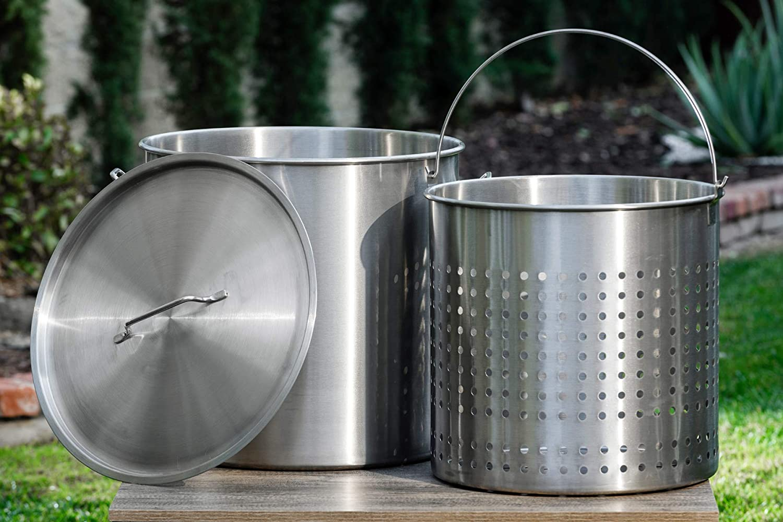 Barton Commercial Stainless Steel Stock Pot w/Steamer Basket Lid/Cover 20-Gauge Food-Grade 304 S.S. (104 Quart)