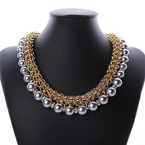 Pearl Diamonds Explosion models exaggeration fashion retro false collar necklace