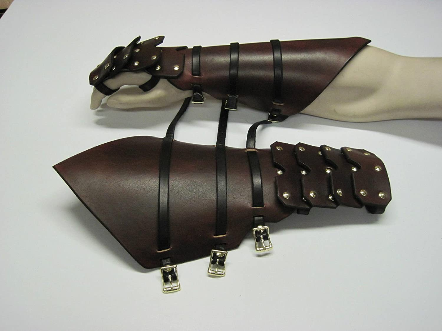 Medieval Leather Brass Gauntlets Hand Protection