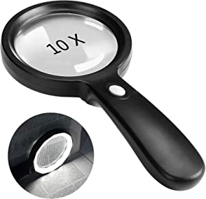 Magnifying Glass with Light, 10X Handheld Large Magnifying Glass 12 LED Illuminated Lighted Magnifier for Macular Degeneration, Seniors Reading, Soldering, Inspection, Coins, Jewelry, Exploring