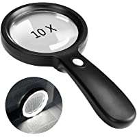 Magnifying Glass with Light, 10X Handheld Large Magnifying Glass 12 LED Illuminated Lighted Magnifier for Macular…