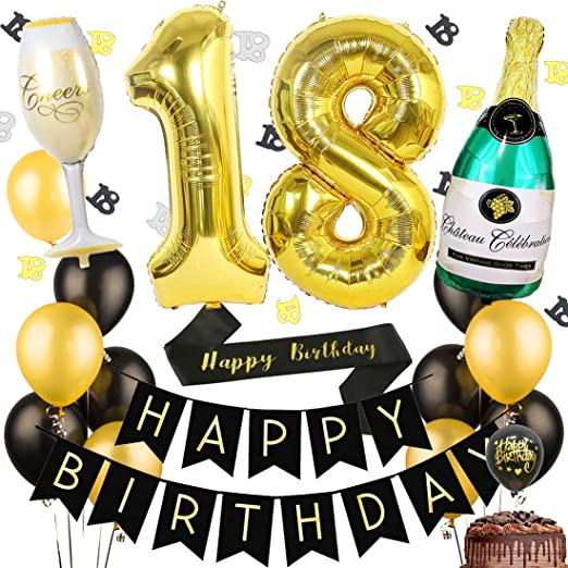 Paquete de la fiesta de cumpleaños número 18, Decoraciones ...