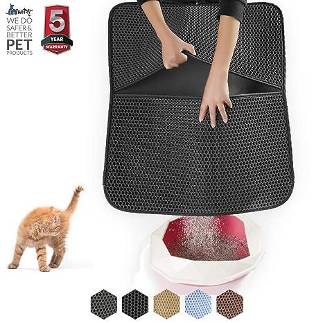 WePet Alfombrilla de 2 capas para arena de gato grande, ideal para ...