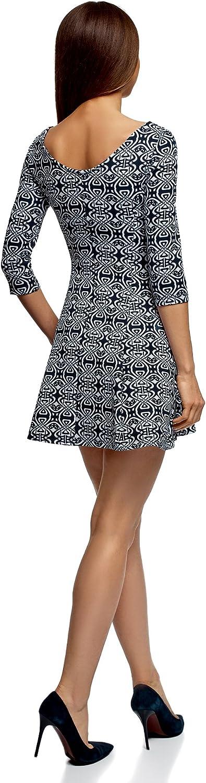 oodji Ultra Mujer Vestido de Tejido Grueso con Estampado: Amazon ...