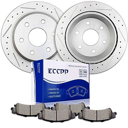 Brakes KitsECCPP 2pcs Rear Discs Brake Rotors And 4pcs Ceramic Disc Pads Set