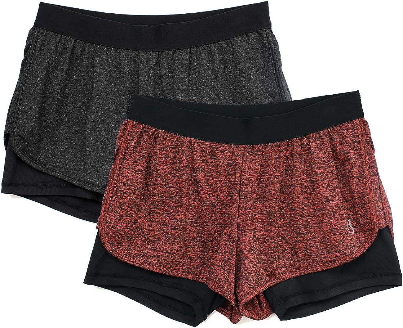 icyzone Damen 2 in 1 Sport Shorts Training Yoga Kurze Hose Laufshorts 2er Pack