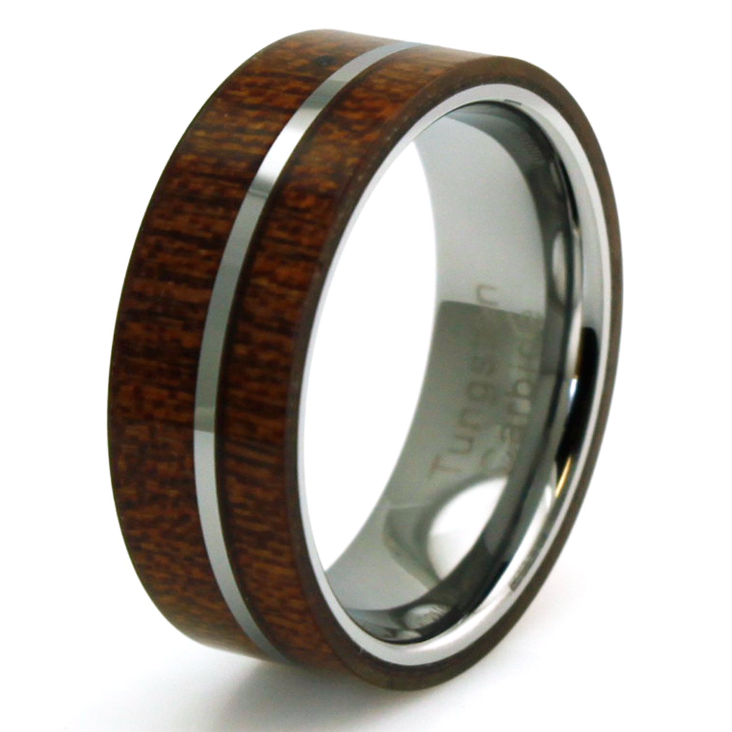 Titanium Mahogany Wood and Off-center Silver Colored Band Ring, Size 11