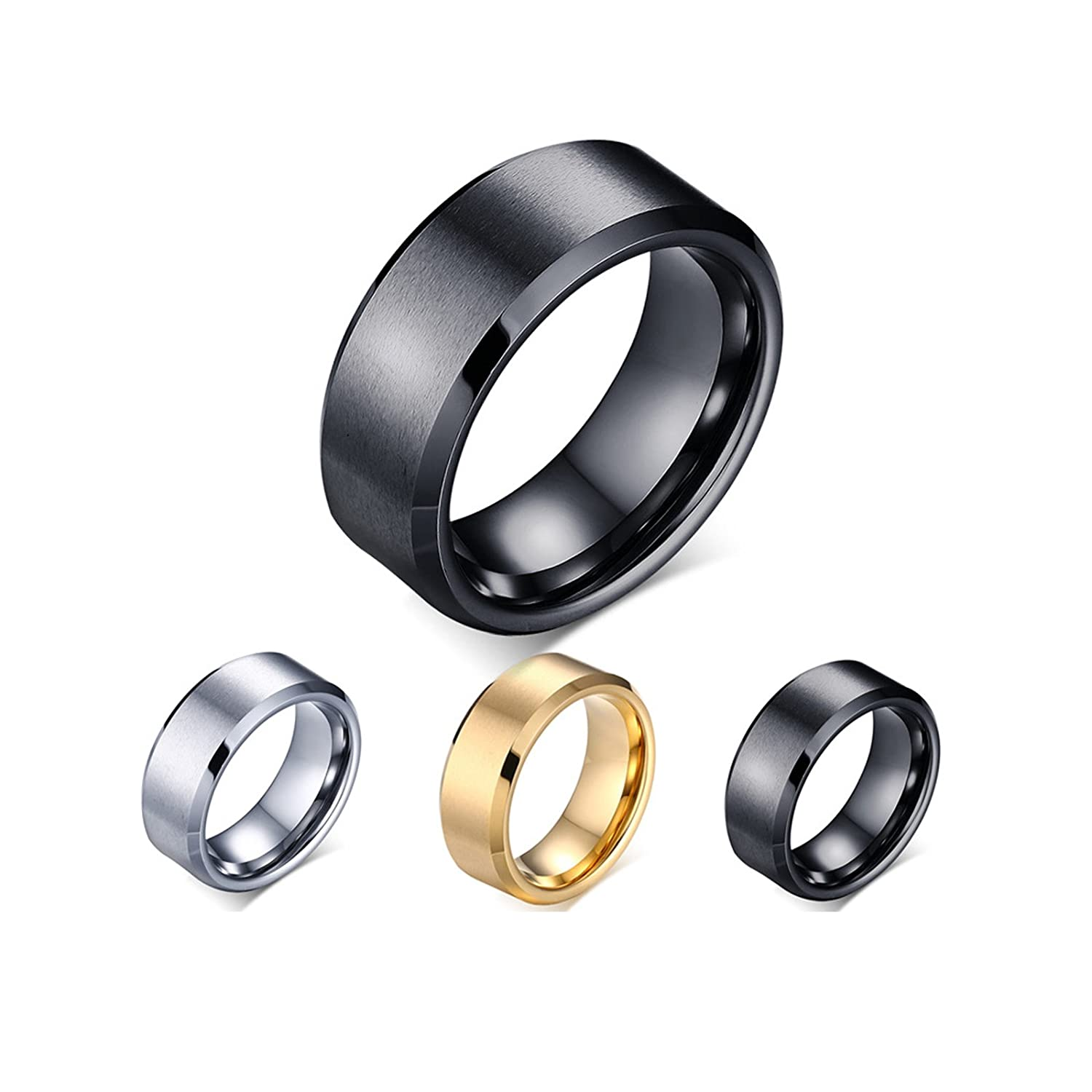 (Free Engraving) Personalized Tungsten Plain Band Ring for Men,Black,8mm Width