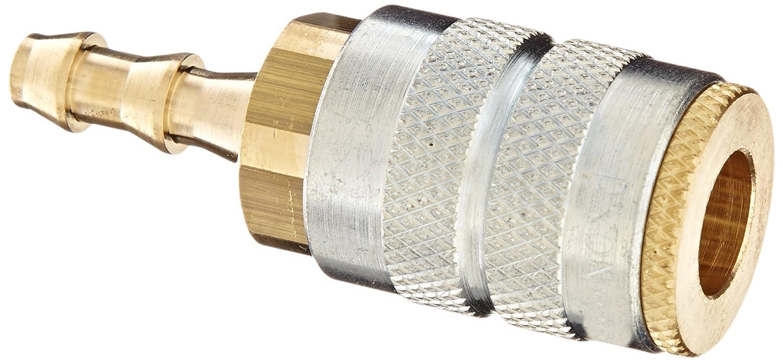 Dixon Valve 2FB2-B Brass Manual Industrial Interchange Pneumatic Fitting, Socket, 1/4' Coupler x 1/4' Push-Loc Hose ID Barbed 1/4 Coupler x 1/4 Push-Loc Hose ID Barbed Dixon Valve & Coupling