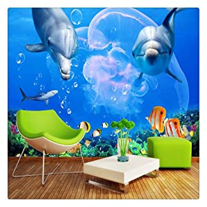 Custom 3D Wallpaper Living Room Dolphin Great White Shark Underwater World Photo Wall Paper Bedroom Kitche,400cmX280cm
