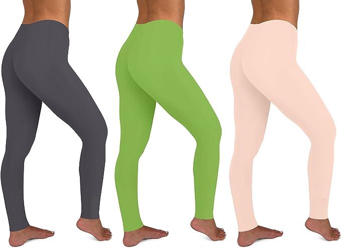 Amazon.com: Paquete de 3 leggings largos de algodón elástico ...
