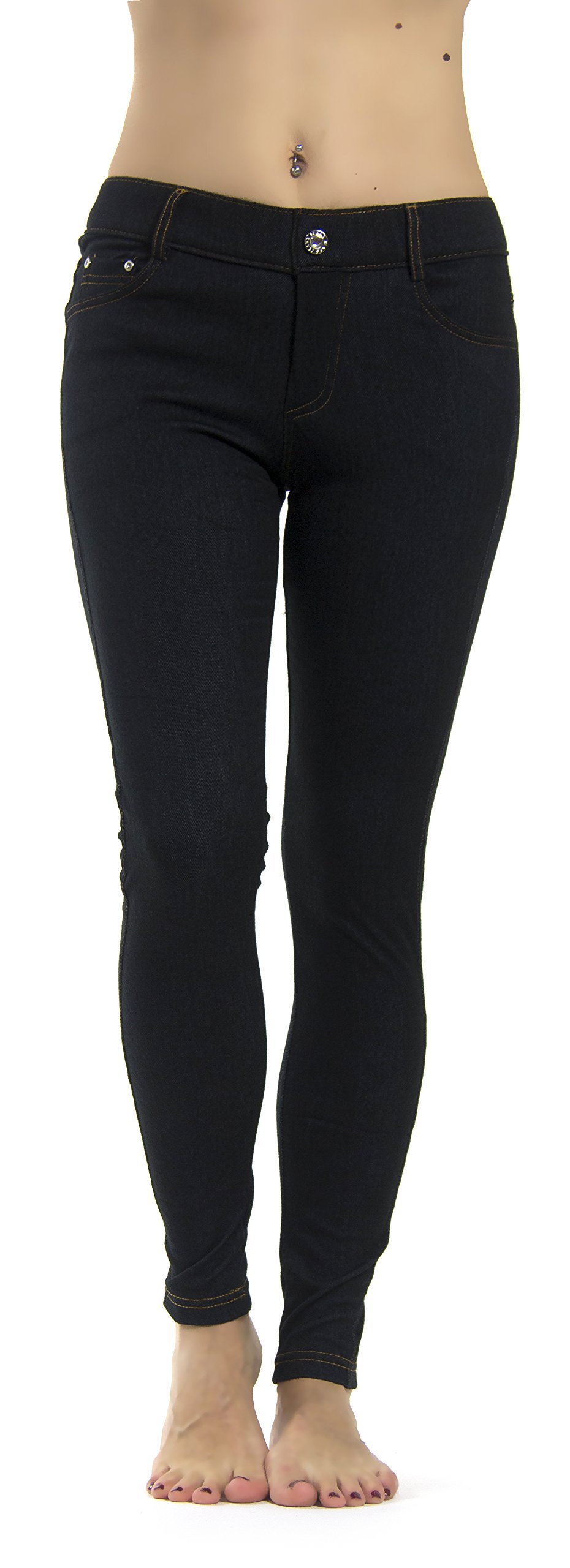 Prolific Health Women's Jean Look Jeggings Tights Slimming Many Colors Spandex Leggings Pants S-XXXL (Large/X-Large, Black Denim) by Prolific Health (Image #2)
