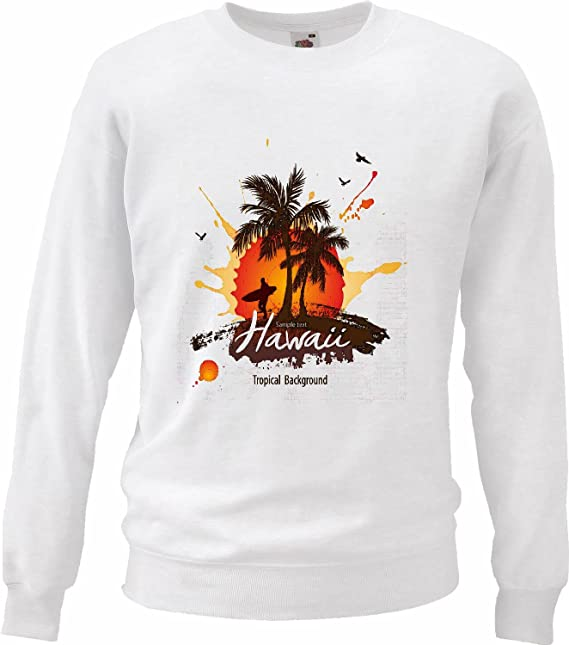 Sudaderas Suéter Vintage Hawaii Surf Beach Tablas DE Surf Las Ondas DE Longboard Beginner Shop en Blanco: Amazon.es: Ropa y accesorios