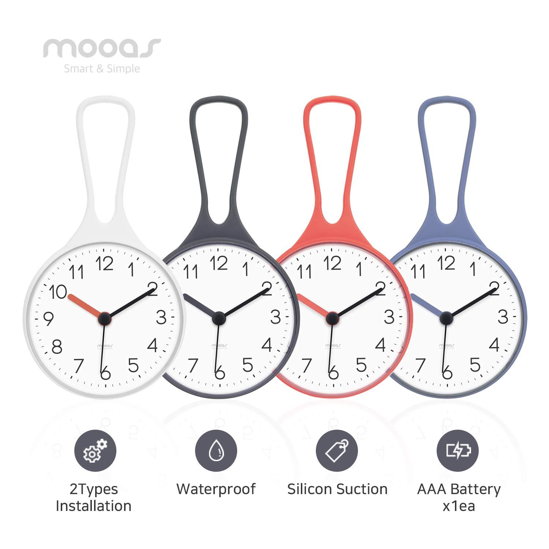 Mooas Loop Bathroom Clock, Shower Clock, Waterproof Shower Clock (White) by Mooas