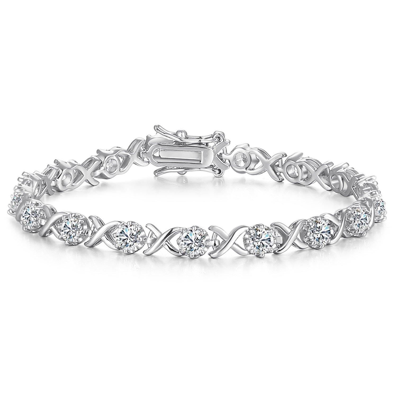 Vibrille Women's Jewelry Infinity XO Cubic Zirconia Tennis Bracelet in Sterling Silver, 7.5''