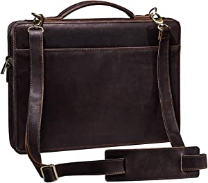 Handmade Business Leather Portfolio Briefcase for Men,Business Zippered Legal Pad Padfolio Organizer with Handle & Shoulder Strap,Slim Laptop Case Avaiable for 15-inch MacBook Pro
