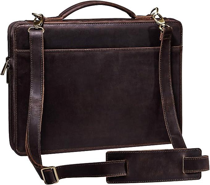 Handmade Genuine Split Leather A4 Portfolio Work Folio Case Notebook Briefcase
