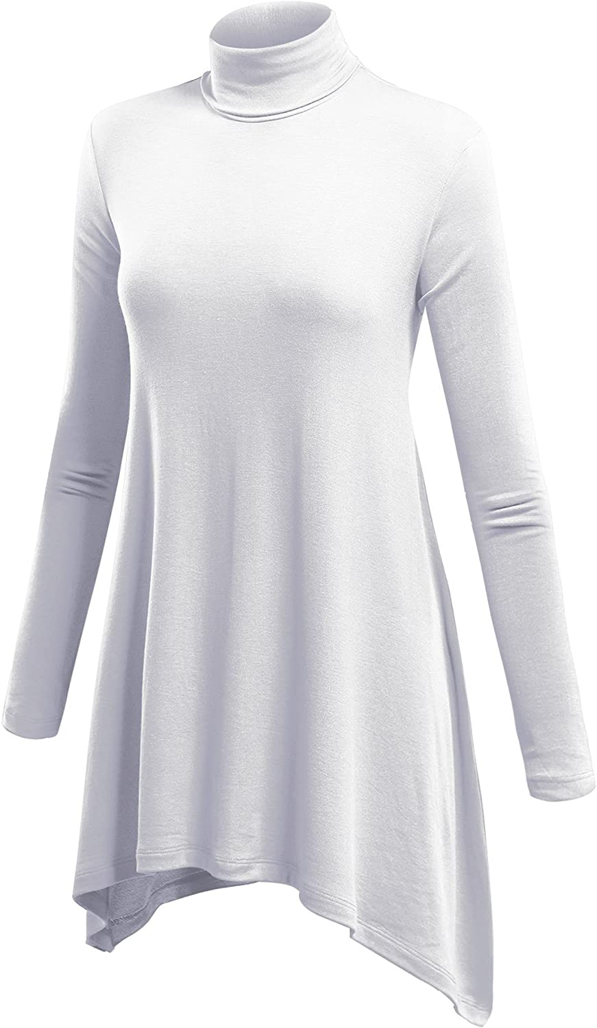 Lock and Love Women's Long Sleeve Turtleneck Asymmetric Tuni Top - Made in USA