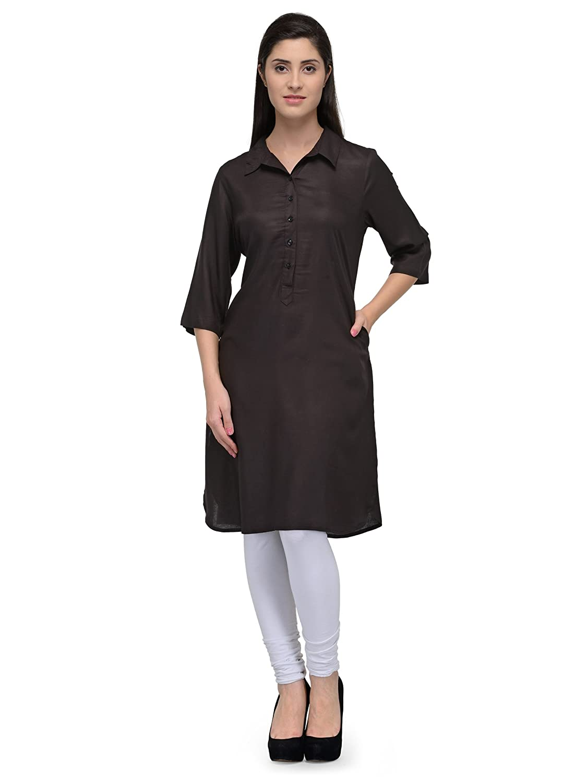 2a7b3c705b2 PATRORNA Cotton Silk Blend Women s Patola Style Pathani Kurta Kurti in  Black (F07A03BL)  Amazon.in  Clothing   Accessories