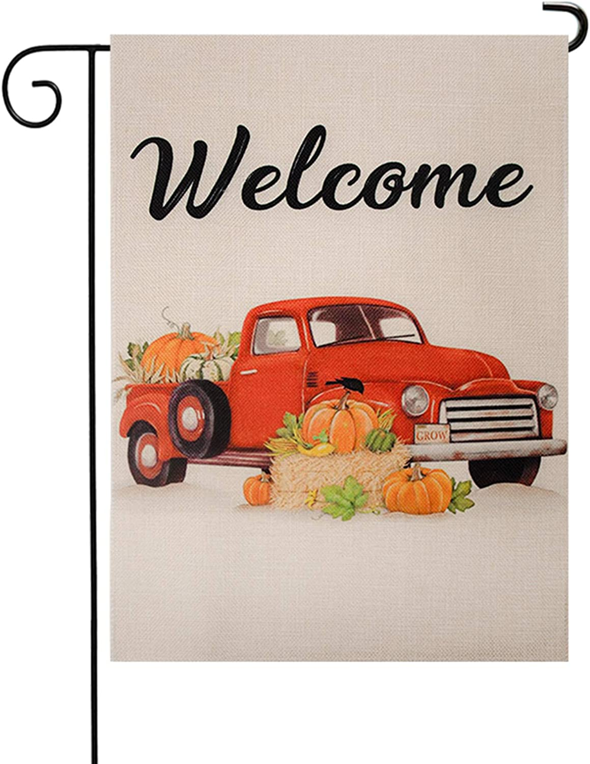 KPP Welcome Autumn Garden Flag, Vertical Double Sided Mantle Farm Truck, Autumn Vintage Thanksgiving Rustic Yard Outdoor Decoration 12.5 x 18 Inch