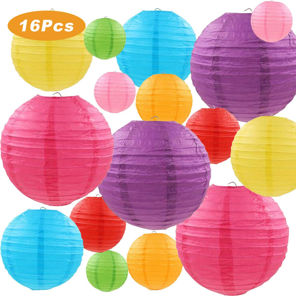 "Colorful Paper Lanterns, LURICO 16 Pcs 4"" 6"" 8""10"" Chinese Round Lantern Paper Hanging Decorations with Assorted Colors and Sizes for Birthday Bridal Wedding Baby Shower Festival Party Decorations N-CPL-16"