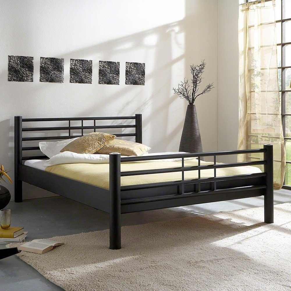 Pharao24 Bett aus Eisen Schwarz Breite 105 cm Tiefe 235 cm Liegefläche 90x220 Stütz-Steg