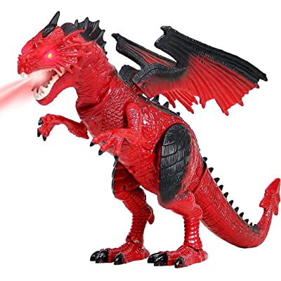Liberty Imports Dino Planet Battery Operated Walking Fire Dragon Toy with Shaking Head, Light Up Eyes and Sounds (Walking Dragon): Toys & Games