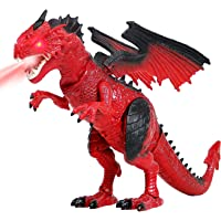 Liberty Imports Dino Planet Battery Operated Walking Fire Dragon Toy with Shaking Head, Light Up Eyes and Sounds (Walking Dragon)