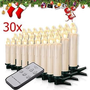 20er LED Warmweiß Weihnachtsbaumbeleuchtung  Christbaum Kerzen Baumkerzen Fest