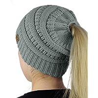 f5c2e7671a195 C.C BeanieTail Soft Stretch Cable Knit Messy High Bun Ponytail Beanie Hat