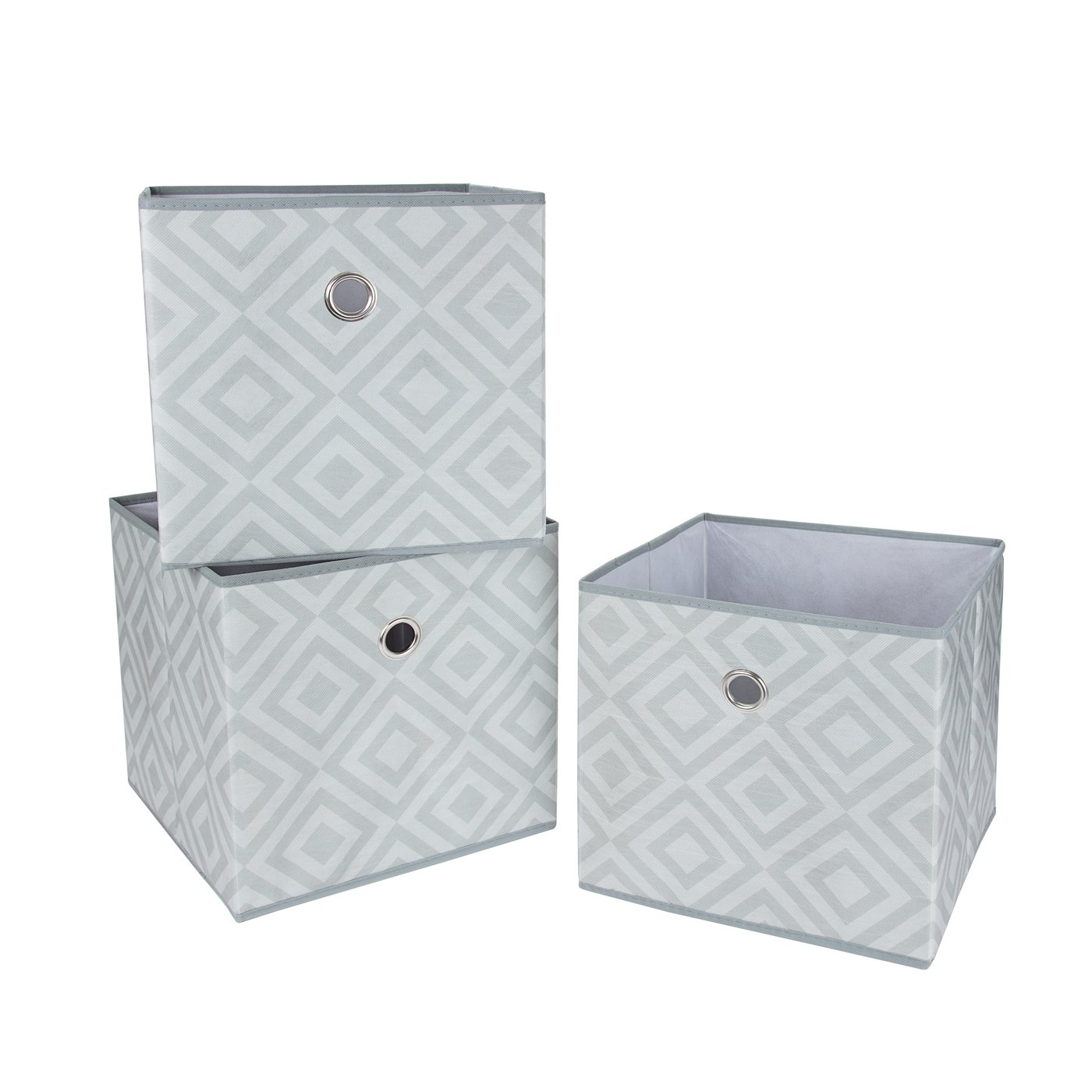 Amazon.com: SbS Large Collapsible Foldable Fabric Storage Boxes, Cubes,  Bins, Baskets. Gray Diamond Pattern (3 Pack). Each Storage Bin Measures  11.8 Inches ...