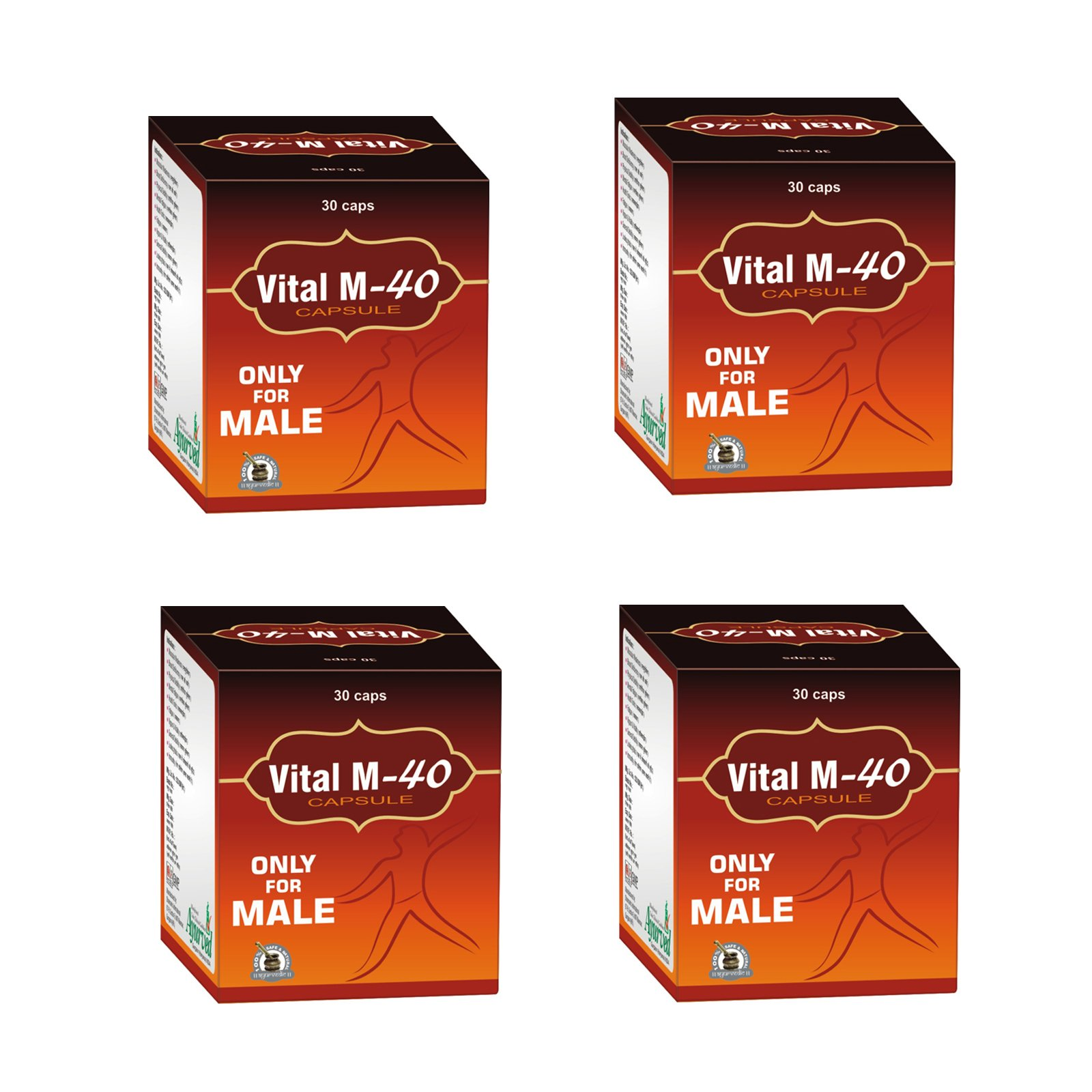 Ayurved Research Foundation Vital M-40 Capsule Best Energy Booster Supplements For Men 4 Packs of 30 Capsules