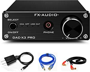 FX AUDIO DAC and Headphone Amplifier Mini HiFi Stereo Home Audio DAC Converter ESS9023 CS8416 USB Optical Coaxial Input and RCA Headphone Amp Output DAC-X3 PRO Digital to Analog Converter (Black)