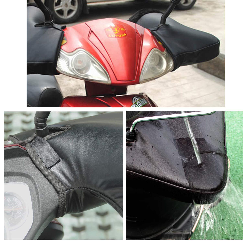 Cincobeb/é Manopole Termici per Manubrio Moto//Scooter,Guanti//Muffole per manubrio moto Invernali,Antivento,Comodi e Caldi,Diametro Apertura Manubrio Grande,Nero