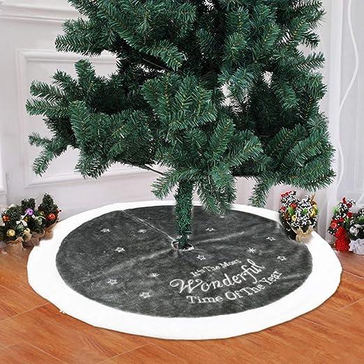 BulzEU Falda de árbol de Navidad de Felpa Blanca y Gris – Cubierta ...