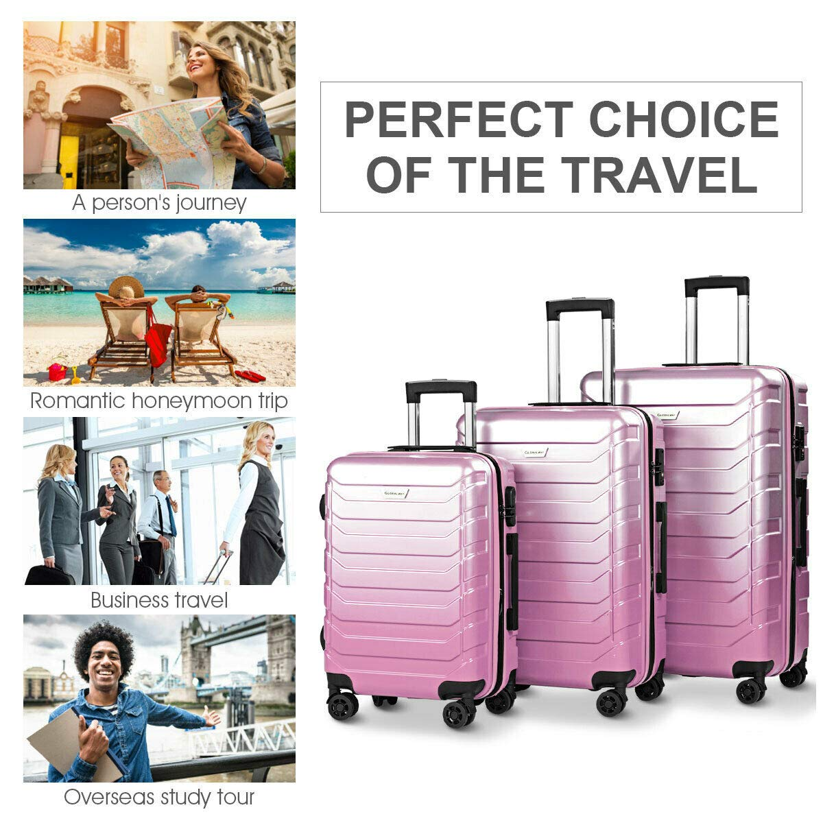 Travel Luggage Set Expandable Suitcase PC+ABS 360/° Multi-Directional Spinner With TSA Lock Pink Perfect for Businesses of 3