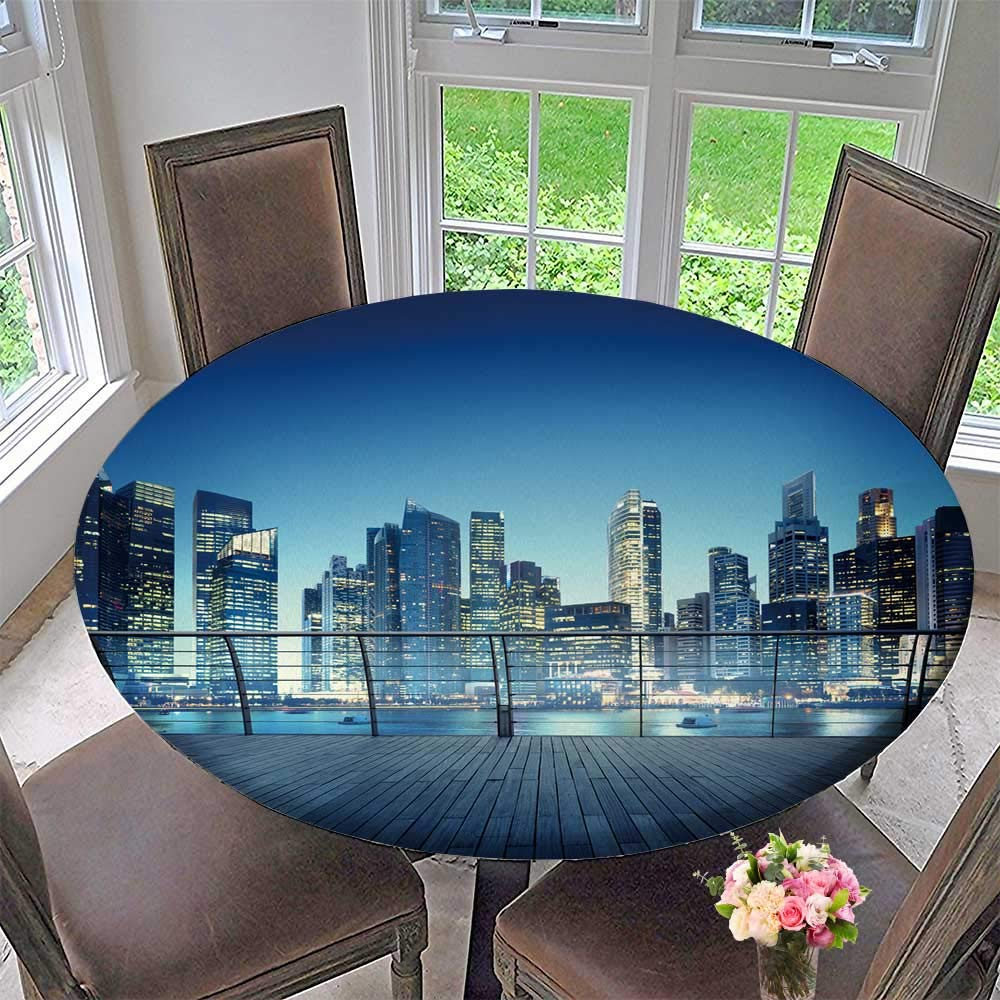 "PINAFORE HOME Modern Simple Round Tablecloth Architecture Build Metropolis Reflection Concept Decoration Washable 55""-59"" Round (Elastic Edge)"