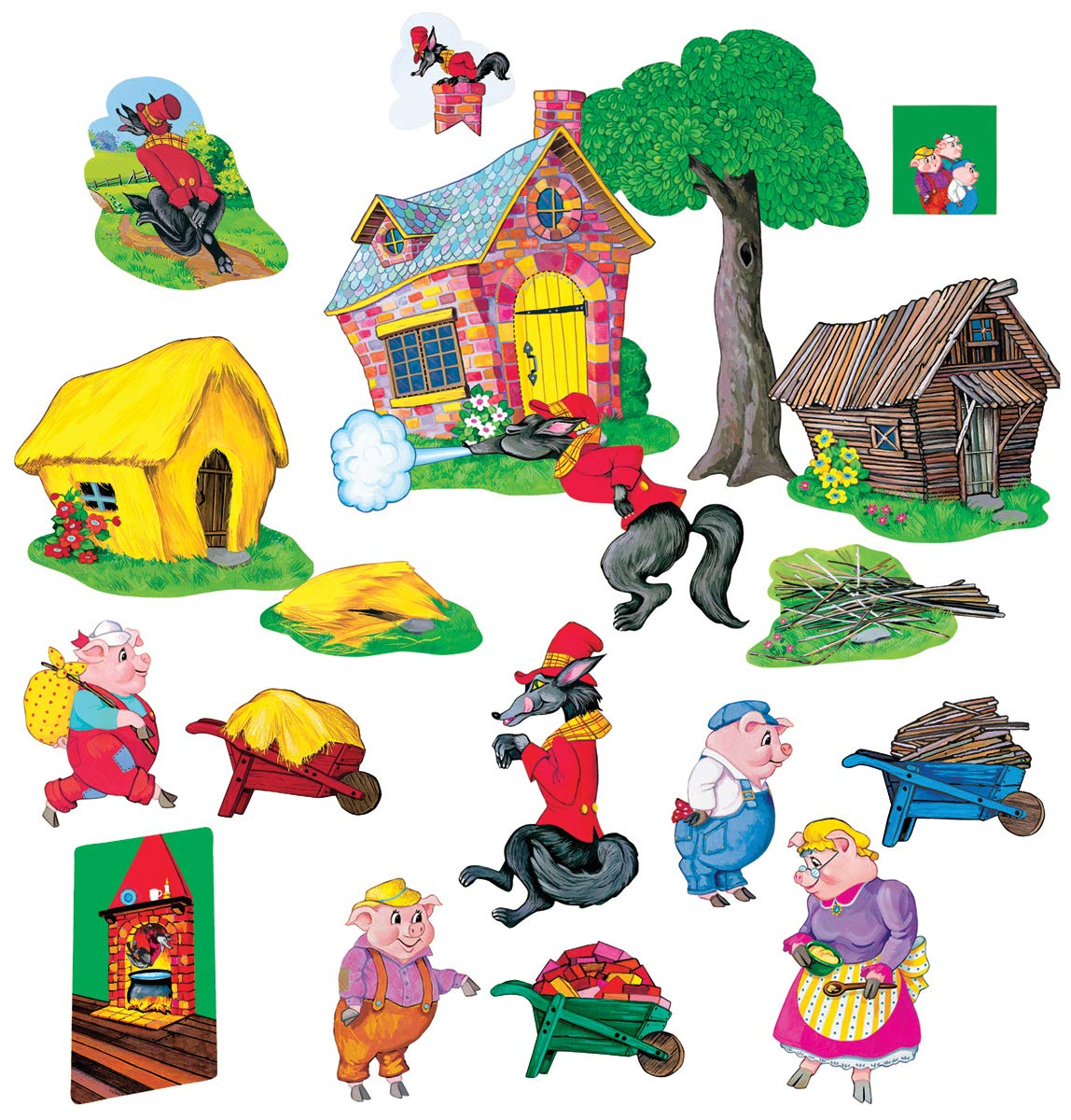 Little Folk Visuals Three Pigs Basic Precut Flannel/Felt Board Figures, 20 Pieces Set by Little Folk Visuals