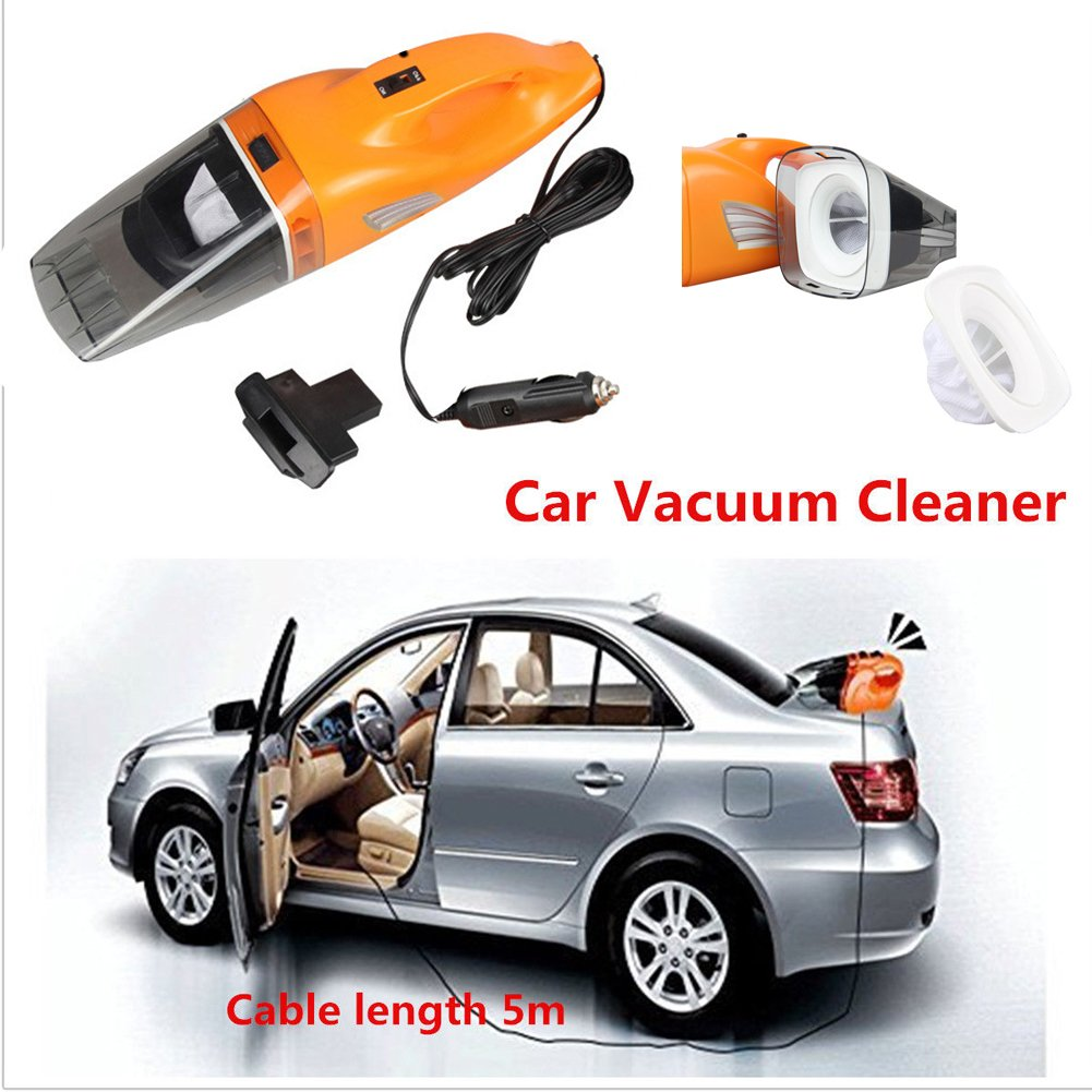 Car Vacuum Cleaner,ixaer Wet&Dry Handheld Auto Vacuum Cleaner 100W 12V Super Mini Portable Automotive/Auto Vacuums Hand Car Cleaner with (197in)Power Cord with Absorb Car Waste – Orange