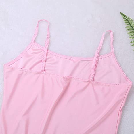 9135abc1 dPois Mens Silk Soft Basic Solid Camisole Plain Vest Adjustable Spaghetti  Straps Tank Tops Sissy Nightwear Sleepwear at Amazon Men's Clothing store: