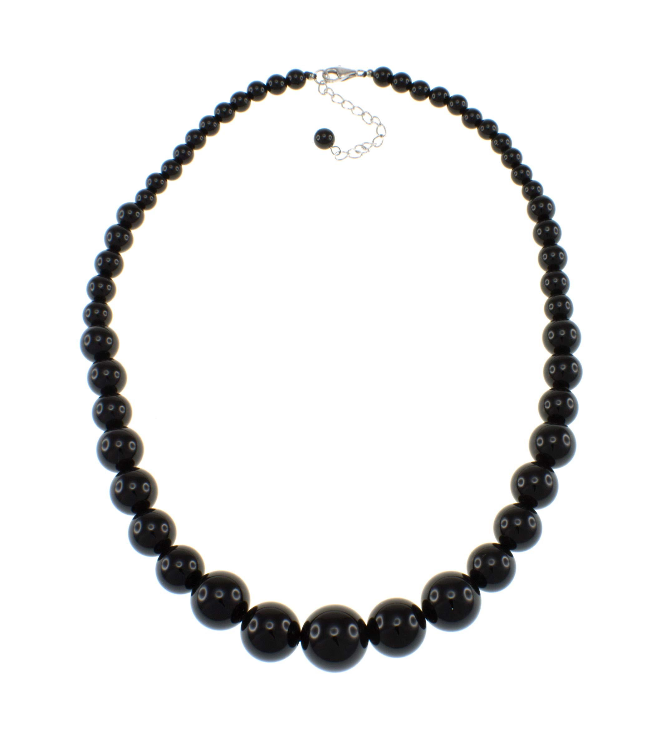 Pearlz Ocean Natural Black Onyx Round Journey Beads Starnd Necklace for Women