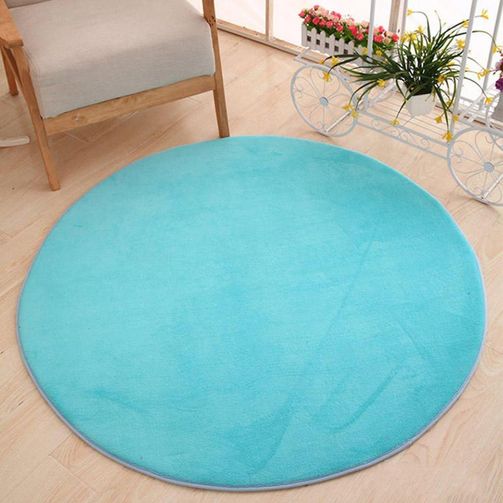B Blesiya Alfombrilla Coralina Suave de Dormitorio Alfombra de Tienda de Campa/ña Almohadilla de Yoga Decoraci/ón para Hogar Redondo 100cm Azul